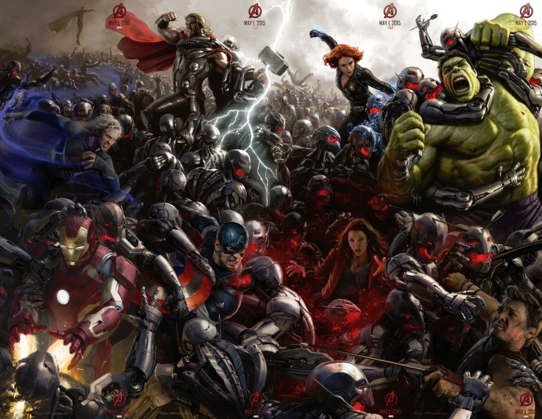 A poster from Avengers: Age of Ultron, with the Avenger team fighting hundreds of Ultron robots.
