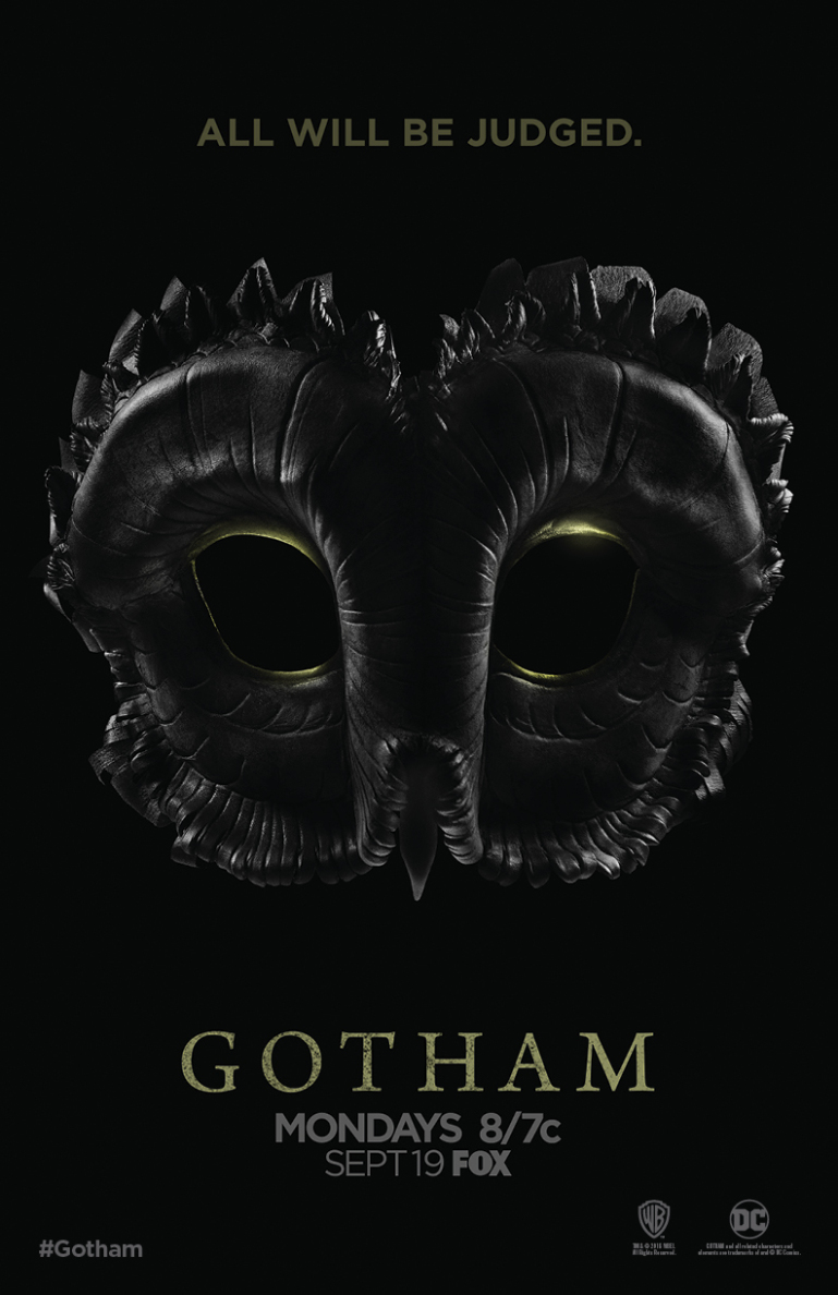 """An Owl mask with the phrase """"All Will Be Judged"""" above it. It's a Gotham announcement poster."""