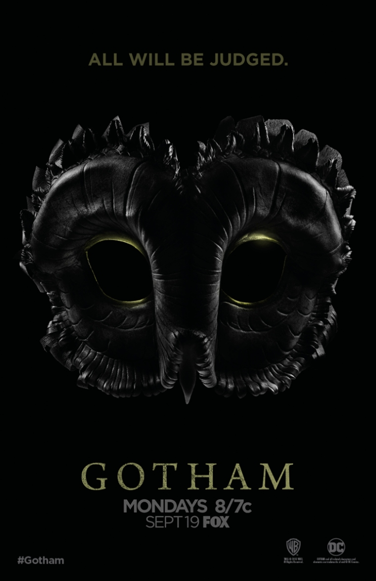"An Owl mask with the phrase ""All Will Be Judged"" above it. It's a Gotham announcement poster."