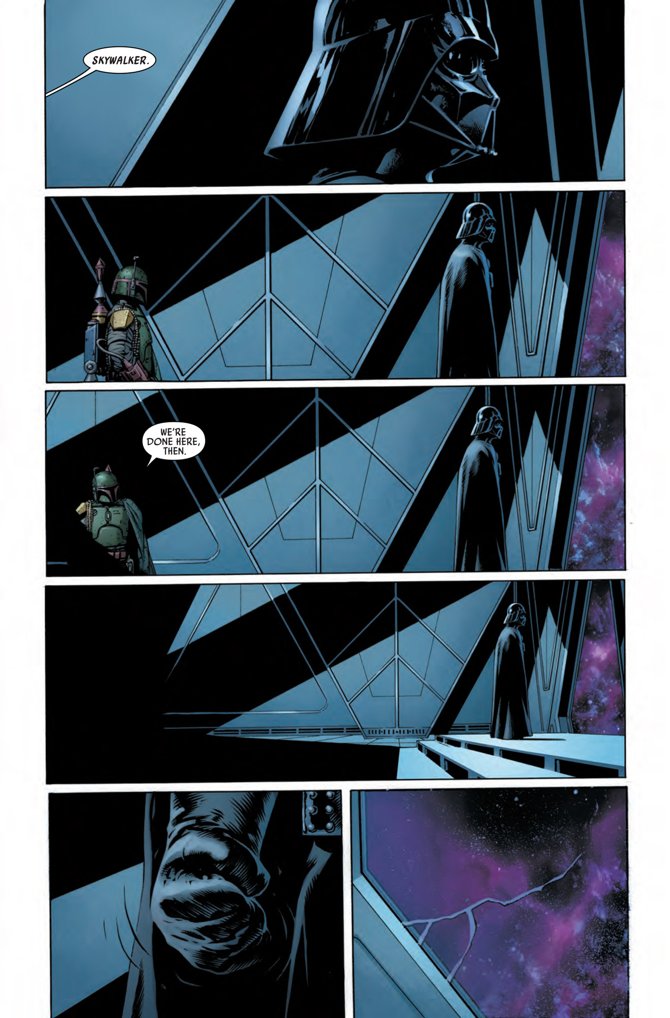 Next panels of comic, Vader seems to not react to the news of the name Skywalker. Boba Fett leaves, and Vader squeezes his fist cracking the glass protecting him from space.