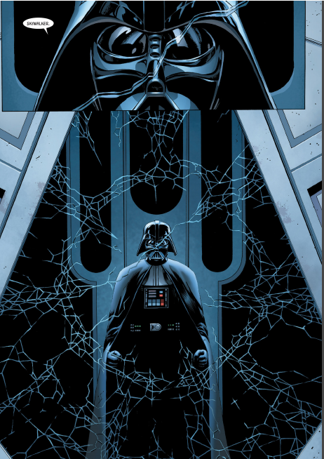 """More panels of the comic, Vader says """"Skywalker"""" and peers through the window that he's just cracked."""