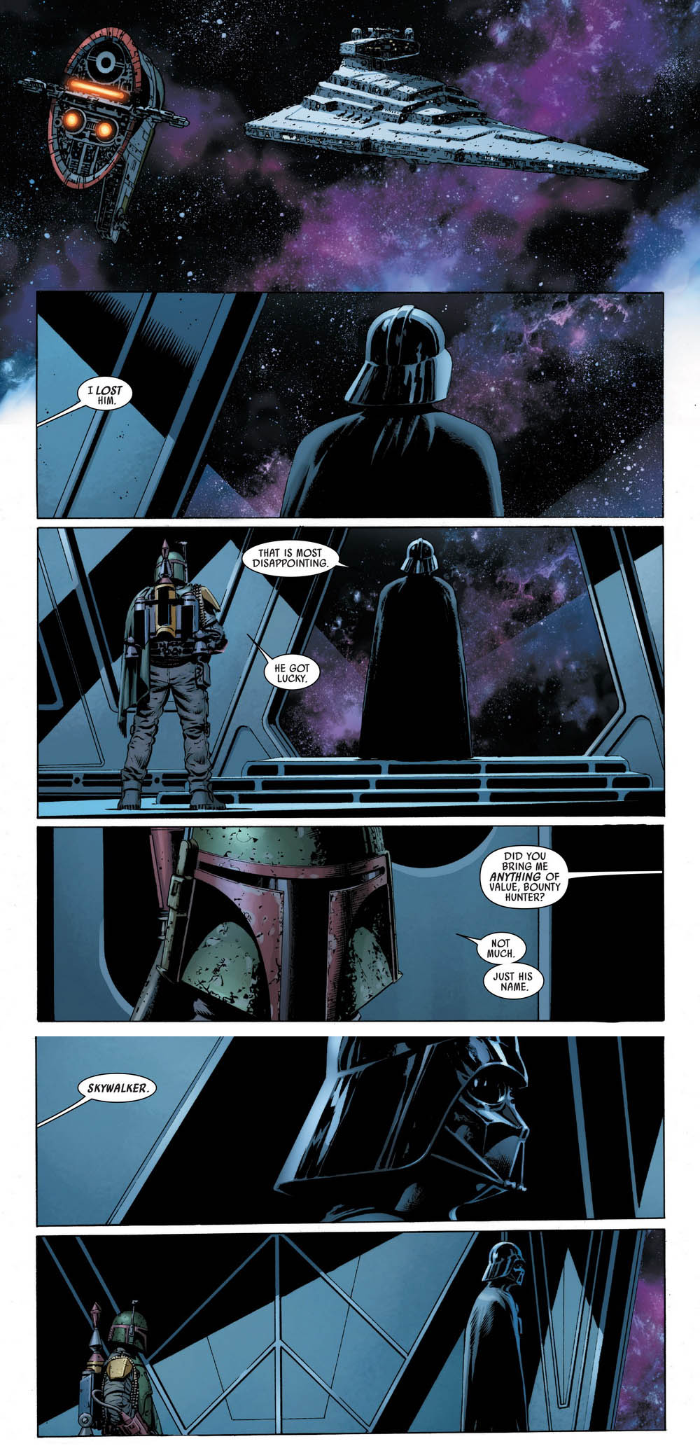 Strip of Star Wars comic. Boba Fett's ship Slave II approaching a Star Destroyer and Boba Fett and Darth Vader speaking. Boba Fett tells Vader that he didn't catch him, and that he didn't get anything except for his name, Skywalker.