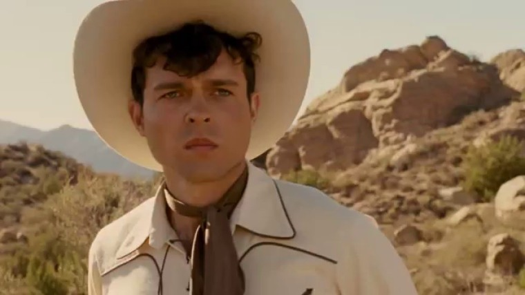"Alden Ehrenreich in his 50's cowboy outfit from the film ""Hail Caesar!"""