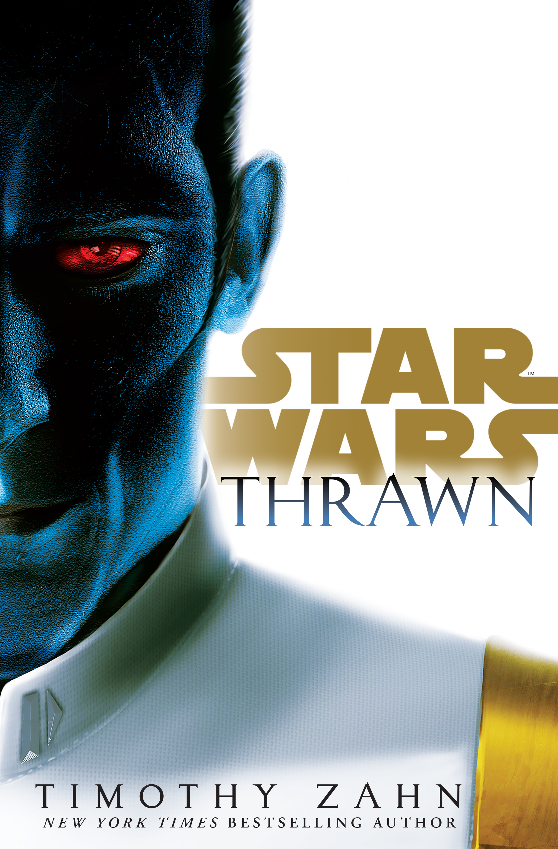 """The cover of Timothy Zahn's Star Wars novel """"Thrawn"""" with a picture of the blue skinned, red eyed Admiral Thrawn looking at the reader."""