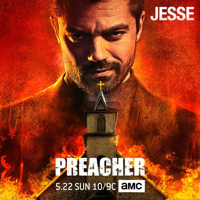 "The poster for ""Preacher"" with Dominic Cooper as Jesse Custer behind the image of a church and flames."