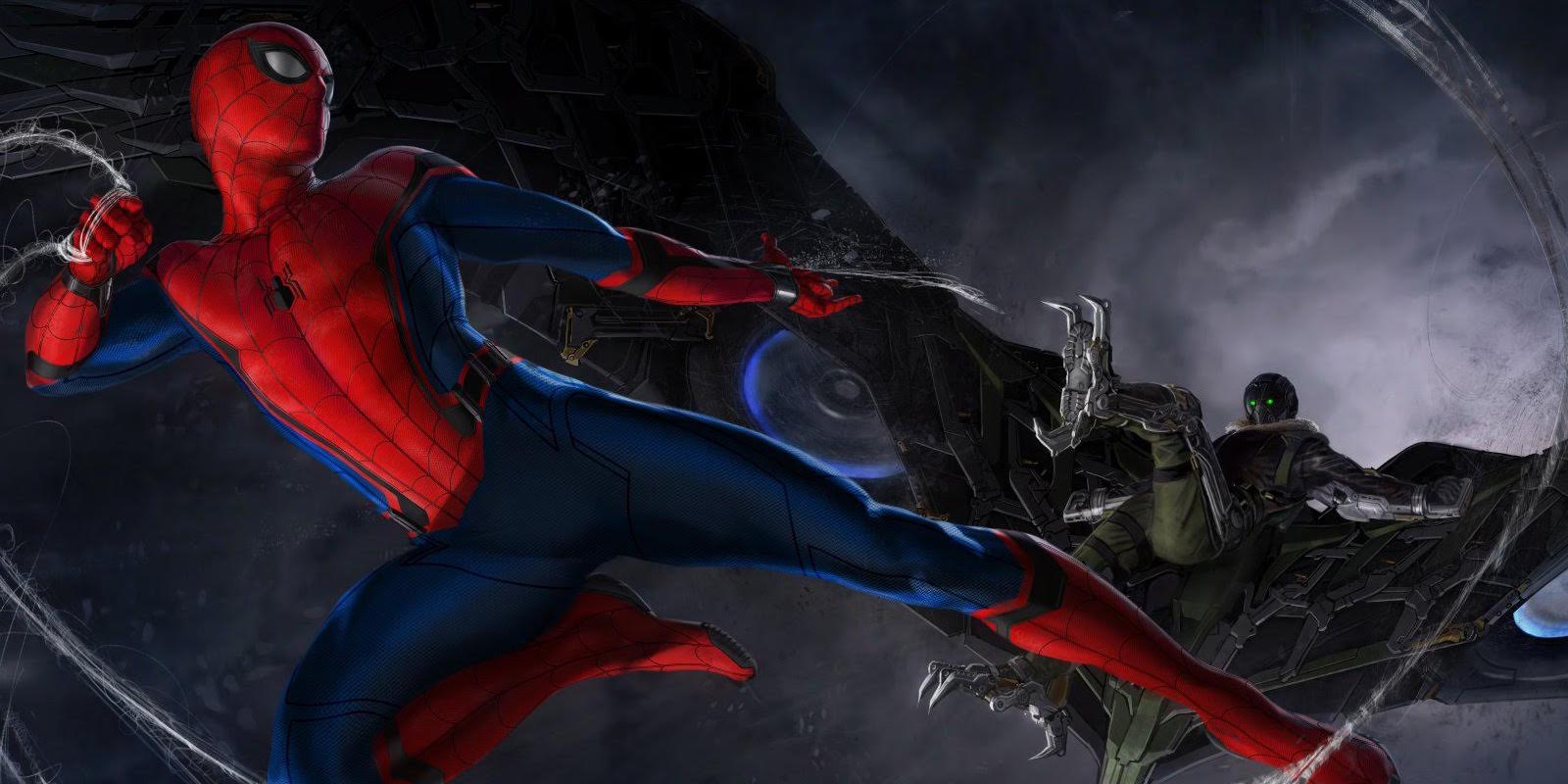A drawing of Spiderman fighting Vulture amoung grey clouds.