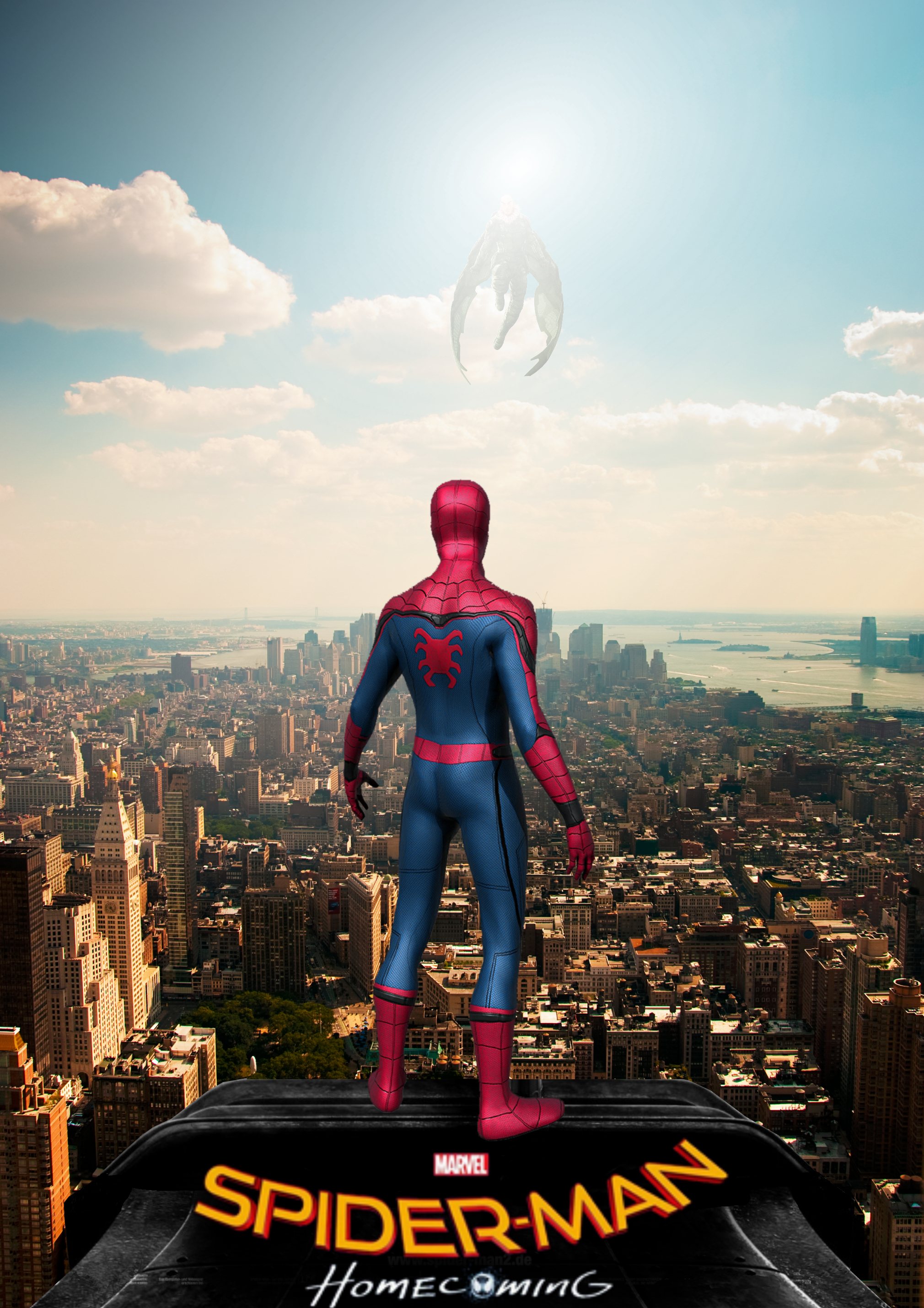 The poster for Spider-Man: Homecoming. Spider-man stands on the ledge of a tall building overlooking New York City, with Vulture floating among the clouds, nearly blocked out by the sun.