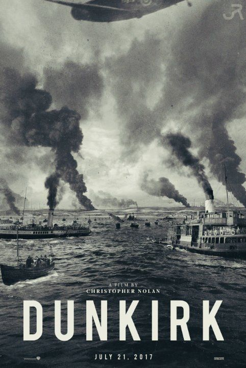 The poster for the film Dunkirk, showing several boats and ship smoking.