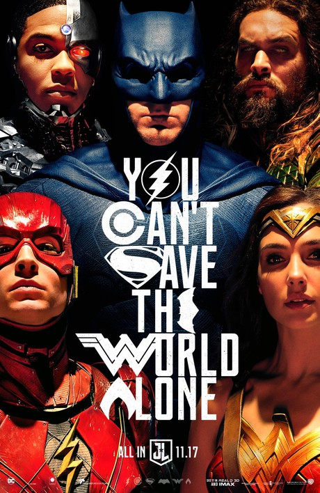 The poster for Justice League film, showing Wonder Woman, Batman, Aquaman, Cyborg, and The Flash.