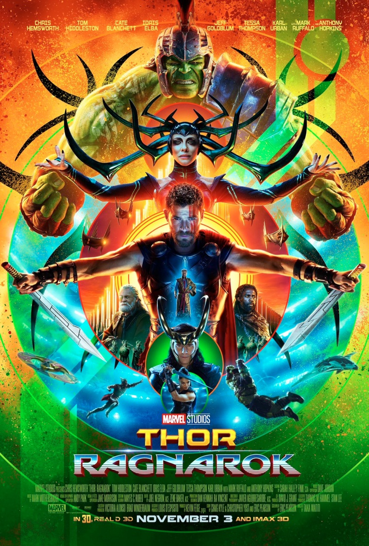 The Thor: Ragnarok poster, showing Hulk in gladiator armor, Hela, Thor, Loki, Odin, and Valkerie in a psychadelic color scheme.