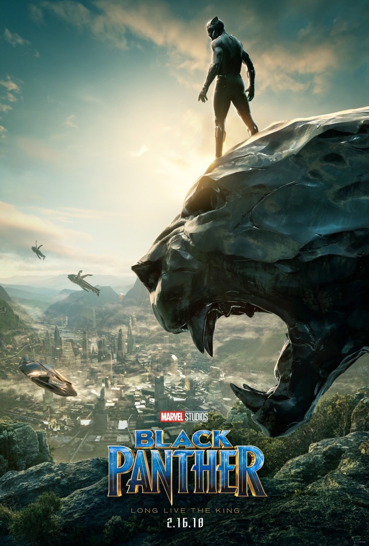 The Black Panther poster. Black Panther standing on a stone panther head overlooking Wakanda, with ships flying in.