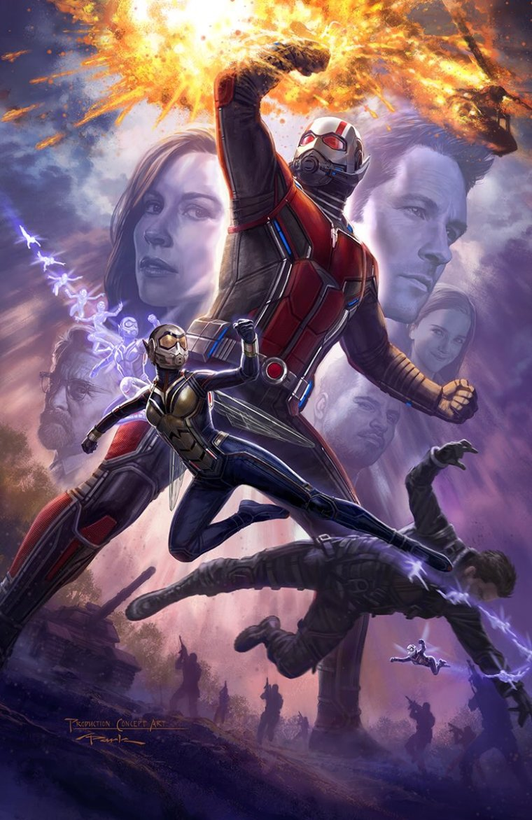 The Ant-Man and the Wasp poster showing both characters in and out of costume, with a helicopter exploding in the air, and the supporting cast  in smaller frame.