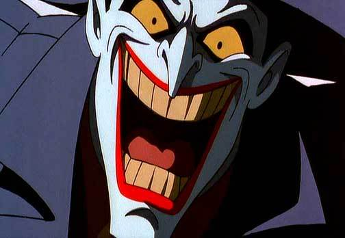 Close up of Joker laughing maniacally, from Batman The animated series.
