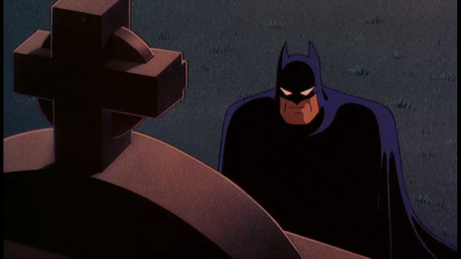 Batman kneeling at a gravestone, from Batman The Animated Series.