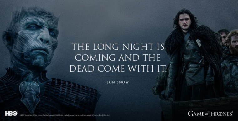 "The Night King across from Jon Snow, with the quote ""The long night is coming and the dead come with it."" -Jon Snow"