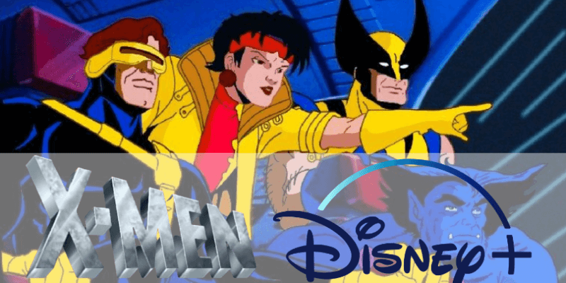 A picture of X-Men Cyclops, Beast, and Wolverine looking at something while Jubilee points at it. The X-Men logo and Disney+ logos covering the bottom half of the image.