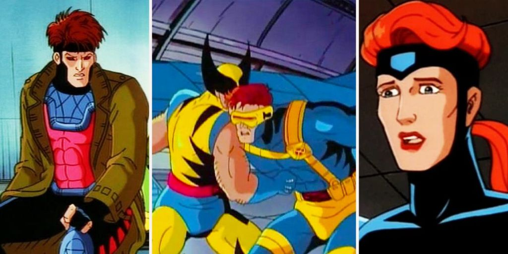 Three panel images, the first of Gambit sitting, the middle of Wolverine punching Cyclops in the stomach, and the third of Jean Grey looking worried or sad.