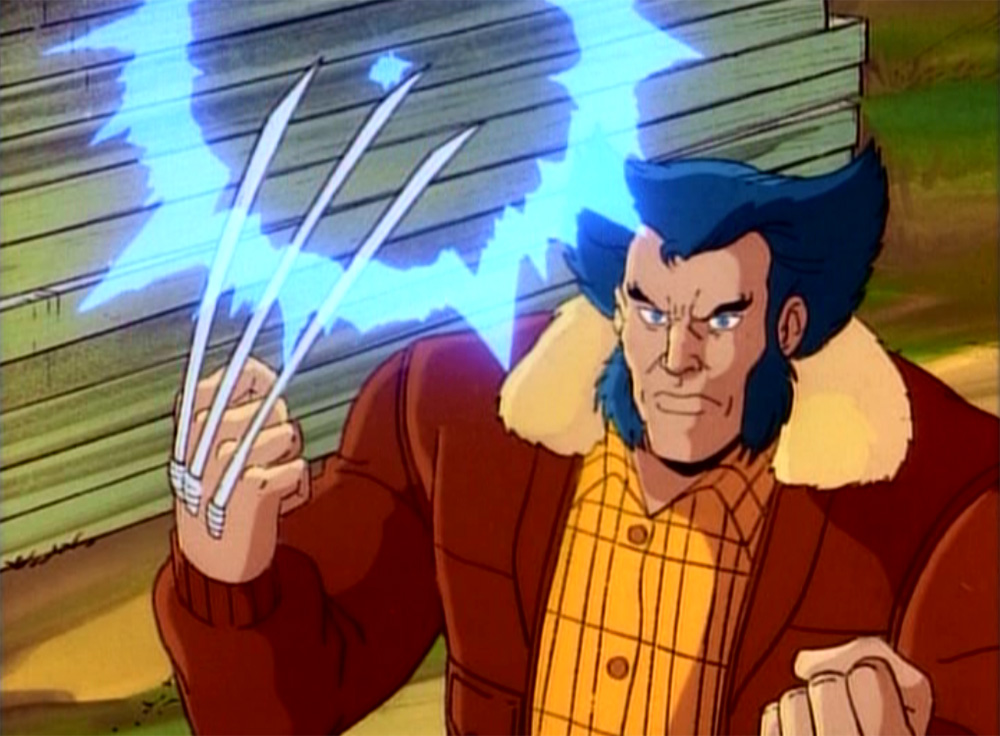 Wolverine out of his X-Men uniform, with his claws extended, and some kind of energy circling the tips of them.